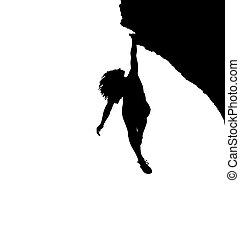 girl., trepador, pared, ilustración, trepador, roca, al aire...