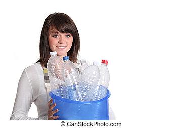 girl, tri, bouteilles, déchets, plastique