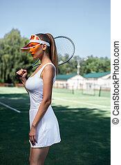 girl, tribunal, tennis, séduisant