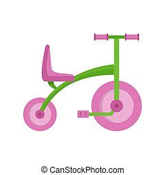Girl tricycle icon, flat style