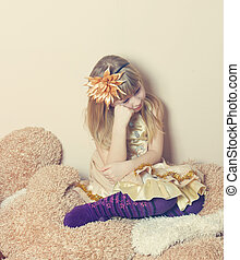 girl, triste, jeune, séance