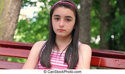 girl, triste, parc, enfant