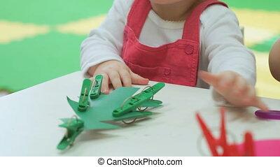 girl, two-year, vieux, jouets, bébé, jeux