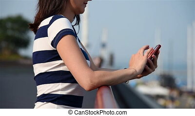 Girl Typing Sms On Phone, Close Up