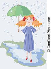 girl, umbrella.