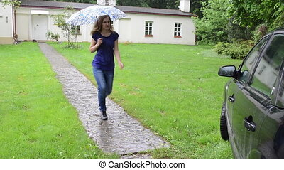girl umbrella sit car