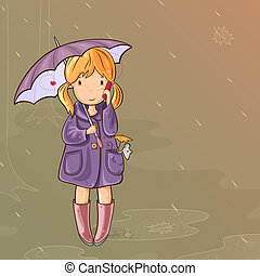 Girl under an umbrella talking on Cell Phone - Girl and her...