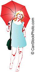 girl under the red umbrella