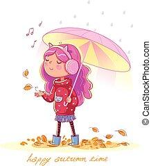 Girl under the umbrella. Walk in the Autumn Park