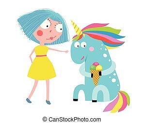 Girl Unicorn Eating Ice Cream Cartoon