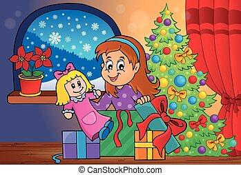 Girl unpacking Christmas gifts theme
