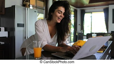 Girl Use Laptop Computer In Kitchen Chatting Online Young...