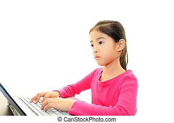 Girl using a laptop