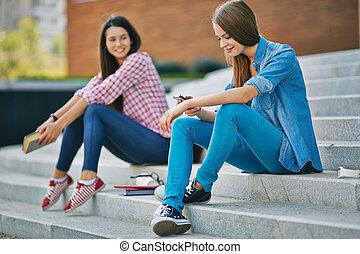 Girl using cellphone