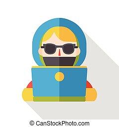 girl using computer flat icon