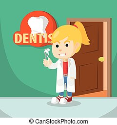 Girl using dentist costume