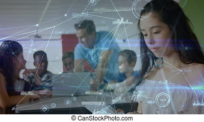 Girl using digital tablet in the classroom on group people background