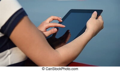Girl Using Digital Tablet