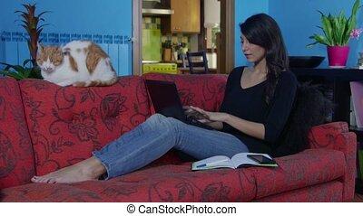 Girl Using Laptop Computer Pc