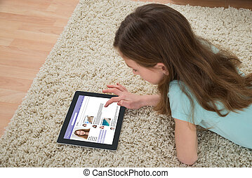 Girl Using Social Networking Site