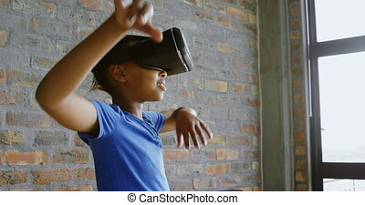 Girl using virtual reality headset in office 4k - Cute girl ...