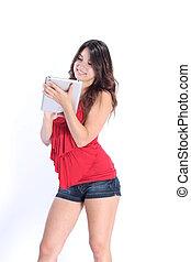 girl, utilisation, a, tablette