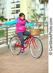 girl, vélo, elle, rouges