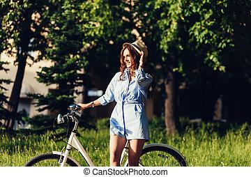 girl, vélo, insouciant
