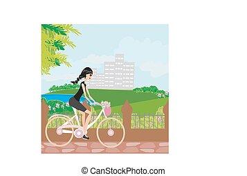 girl, vélo, jeune