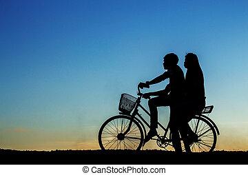 girl, vélo, jeune, sky.