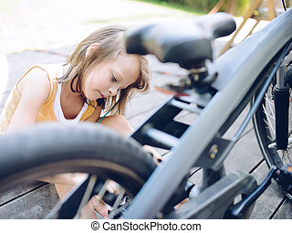 girl, vélo, nettoyage, elle, enfant