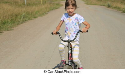 girl, vélo, peu, équitation