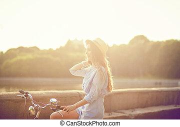 girl, vélo, séance