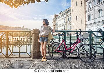 girl, vélo, séduisant