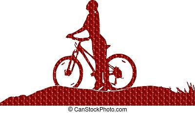 girl, vélo, silhouette