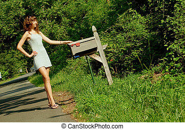 girl, vérification, courrier