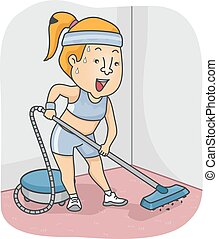 Girl Vacuum Work Out - Illustration of a Woman Working Out a...