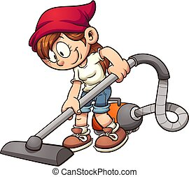 Girl vacuuming - Girl using a vacuum cleaner. Vector clip...