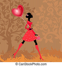girl, valentines, balloon