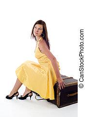 girl, valise