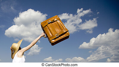 girl, valise, solitaire