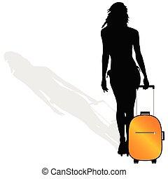 girl, valise, vecteur, silhouette