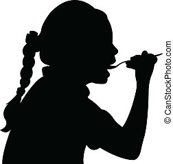 girl, vect, manger, affamé, silhouette