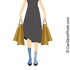 girl, vecteur, achats, illustration