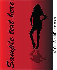 girl, vecteur,  -, ombre
