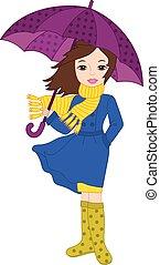girl, vecteur, parapluie