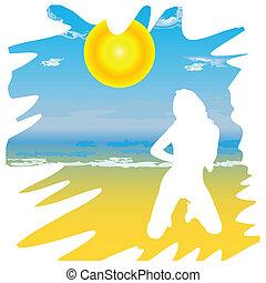 girl, vecteur, plage, dessin animé, illustration
