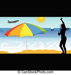 girl, vecteur, plage, illustration