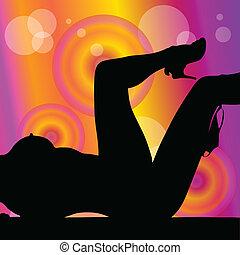 girl, vecteur, silhouette, délassant, illustration