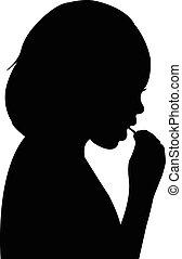 girl, vecteur, silhouette, manger